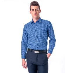 金‧安德森 藍白格紋厚暖長袖襯衫