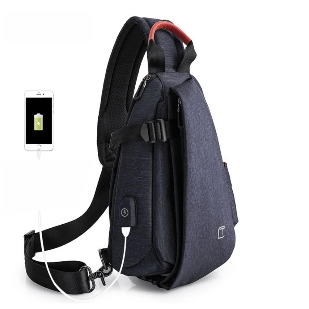 leaper 多功能防潑水USB充電小款單肩包胸包 共2色
