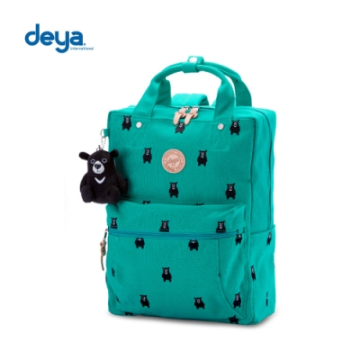 deya 熊森林系刺繡帆布大後背包-綠