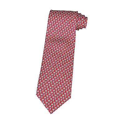 HERMES愛馬仕TWILLBI經典緹花LOGO橄欖球帽設計蠶絲領帶(紅)