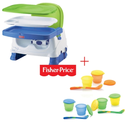 費雪牌寶寶小餐椅+Nuby 副食品儲存盒120ml(附匙)/顏色隨機出貨