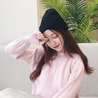Redberry 秋冬圓頂卷邊針織帽 毛線帽 素色毛帽 尖尖帽 保暖