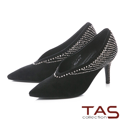 TAS華麗水鑽羊麂皮V口尖頭高跟鞋-時尚黑