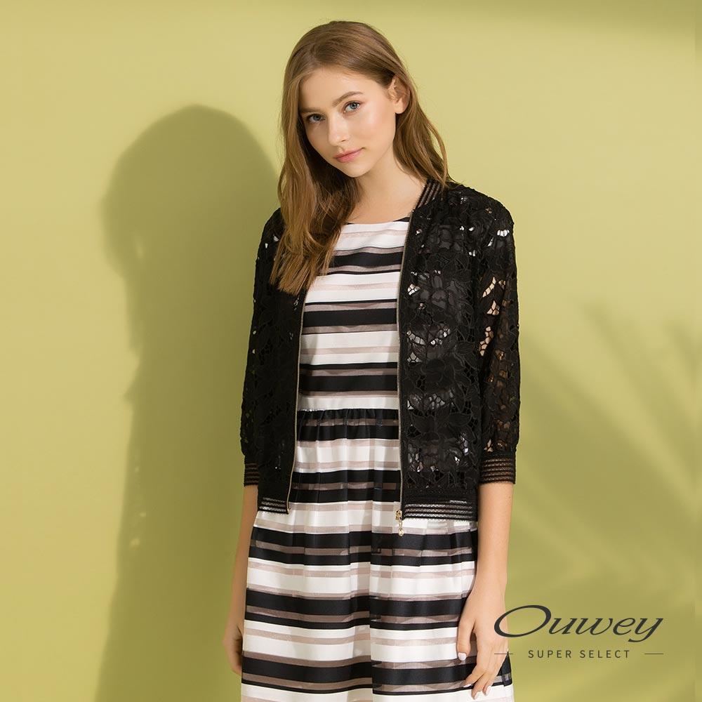 OUWEY歐薇 輕薄縷空造型運動外套(黑/白)