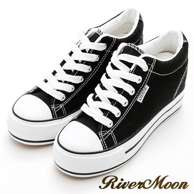 River&Moon內增高-街頭百搭簡約厚底帆布鞋-黑