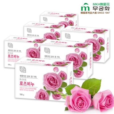 韓國 MKH無窮花 玫瑰保濕美肌皂 6入