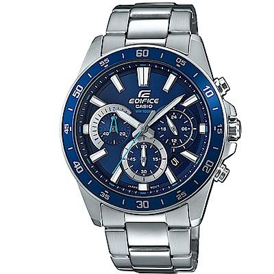 EDIFICE簡約魅力經典三針三眼計時腕錶(EFV-570D-2A)/藍面43.8mm