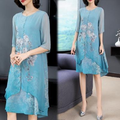 【韓國K.W.】韓時尚明星同款印花洋裝-2色