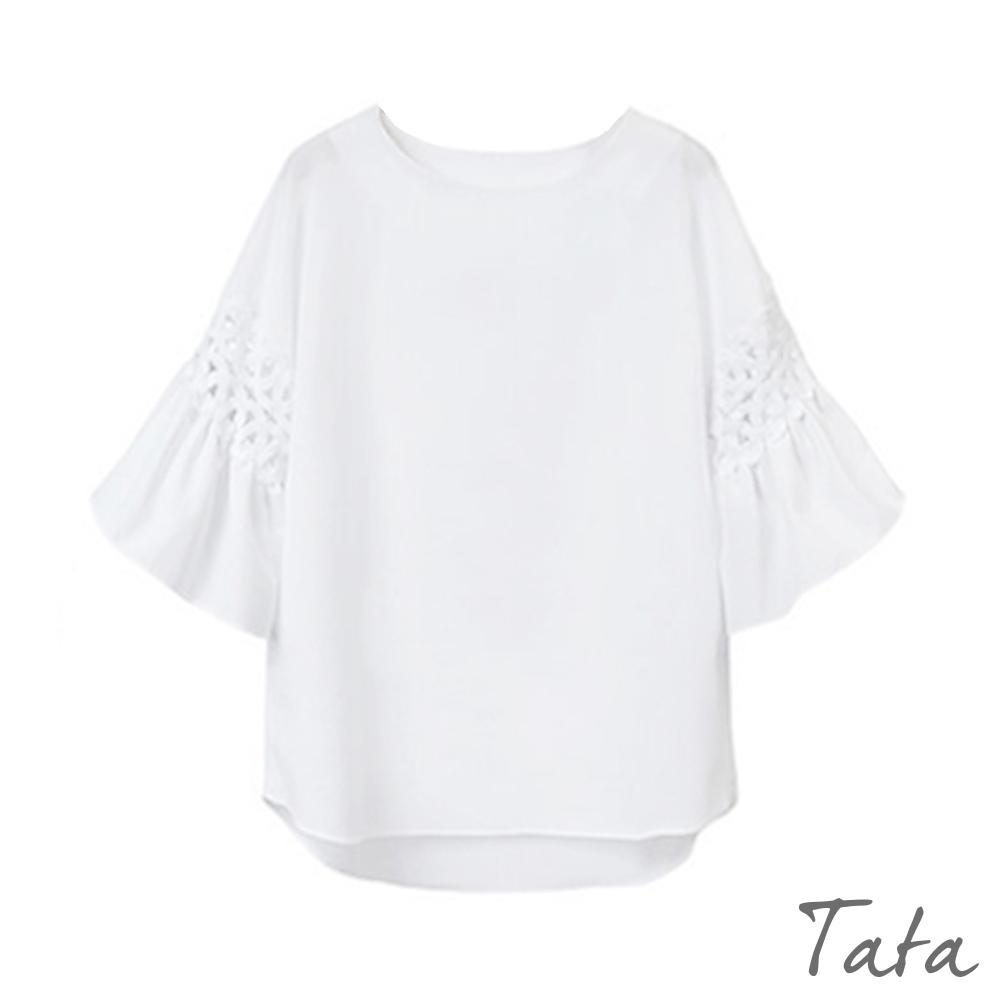 蕾絲鏤空喇叭袖上衣 共二色 TATA-(M~XL)