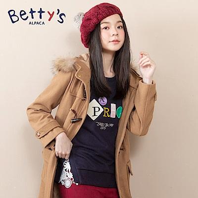 betty's貝蒂思 英文刺繡蕾絲開衩T-shirt(深藍)