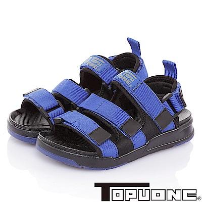 TOPUONE 腳床型輕量減壓可調式運動休閒涼鞋童鞋-藍
