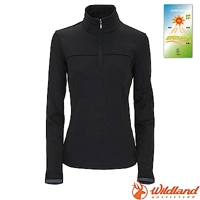 荒野 WildLand 女款 彈性針織保暖衣_黑