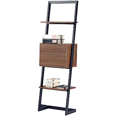 文創集 博斯時尚1.8尺開放式二抽書架/收納櫃-55x33x185cm免組