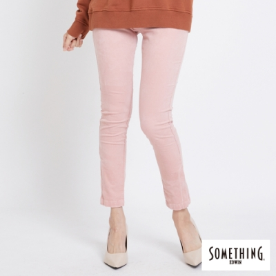 SOMETHING 細條絨彈性 窄直筒休閒褲-女-淡粉紅