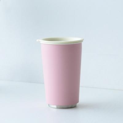 JIA Inc.虹彩鋼 雙層琺琅塗層隨行杯350ml(粉紅色)(快)