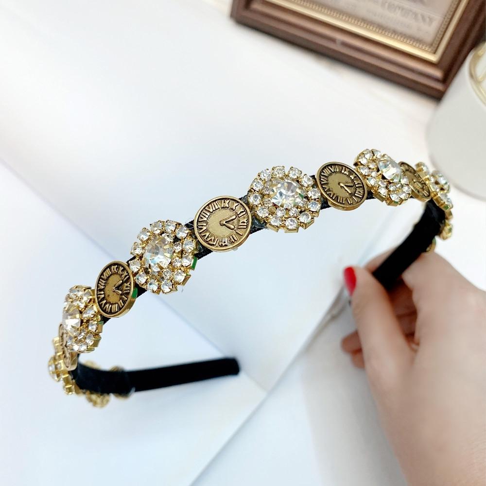 【89 zone】歐美風古典巴洛克精美鑲鑽珍珠髮飾/髮箍 1入 (鑲鑽款)