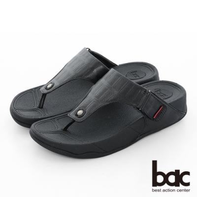 【bac】繽紛曼谷 - 壓紋厚底彈力紓壓夾腳拖鞋-黑