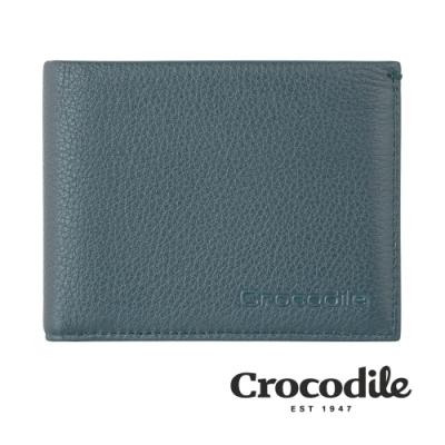 Crocodile 鱷魚皮件 真皮皮夾 Rocky系列 11卡 中翻2窗 拉鍊零錢 短夾-0103-09902-黑藍兩色