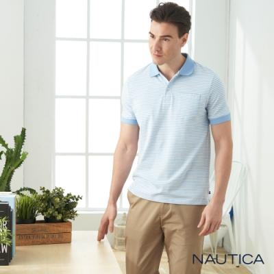 Nautica彈性棉細條紋短袖POLO衫-天空藍