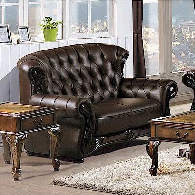 AS-雷爾夫咖啡色皮沙發二人座-160x80x90cm