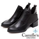 Camille's 韓國空運-深口樂福拼接雙側繃帶踝短靴-黑色