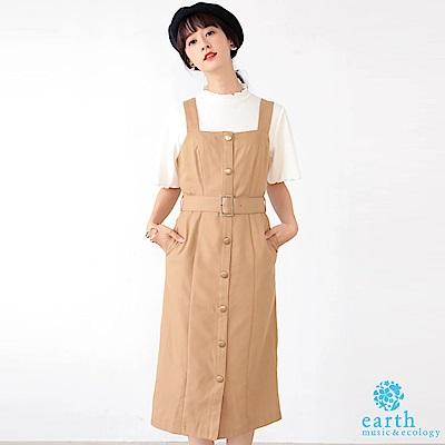 earth music 【SET ITEM】排釦腰帶吊帶洋裝+抓皺高領上衣