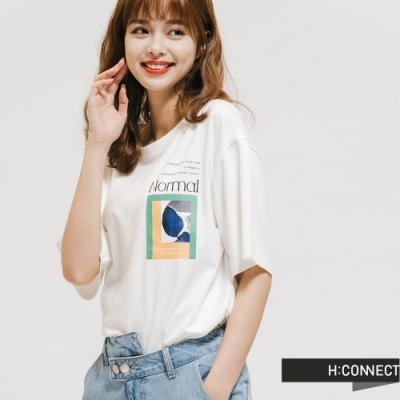 H:CONNECT 韓國品牌 女裝 -幾何圖印標語T-Shirt-白