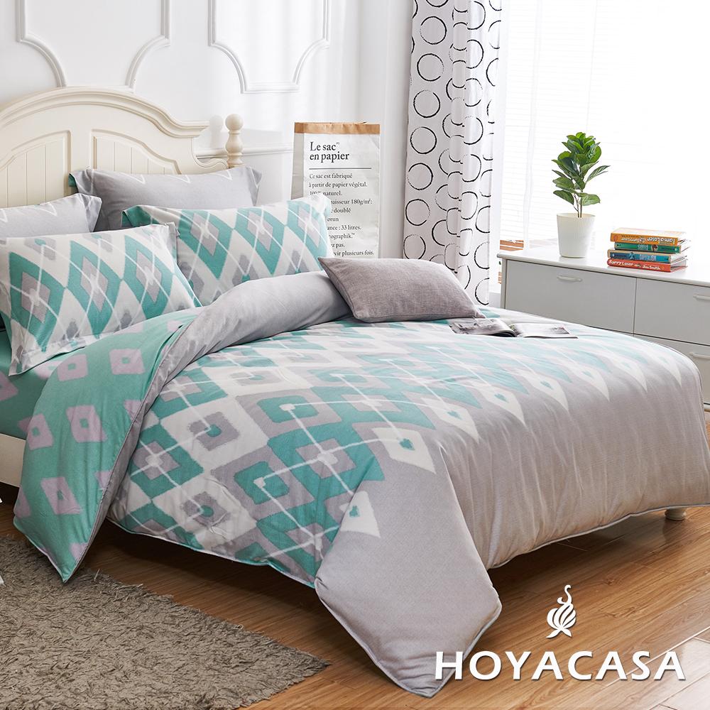 HOYACASA卡西里 雙人四件式天絲柔棉兩用被床包組