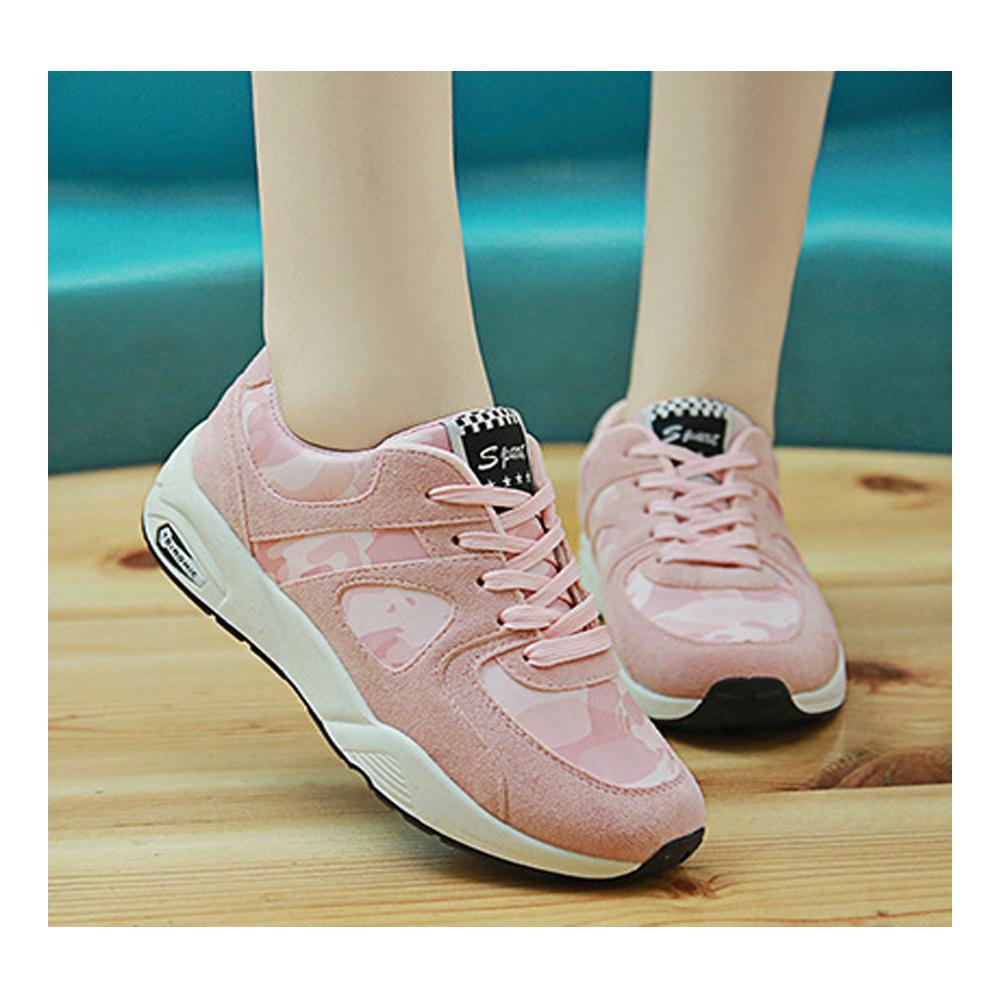 NEW FORCE 韓風增高透氣迷彩休閒鞋-粉色