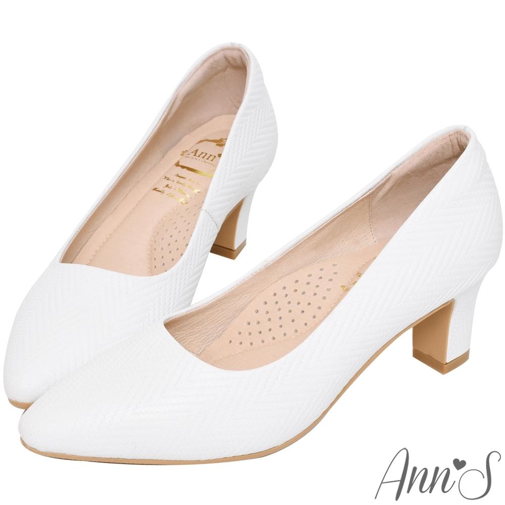 Ann'S名品感頂級山形紋羊皮尖頭跟鞋-白