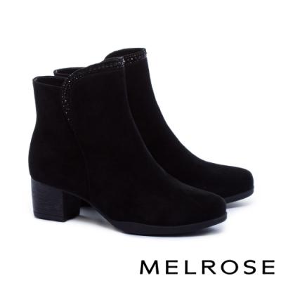 短靴 MELROSE 氣質時尚晶鑽羊麂皮粗跟短靴-黑