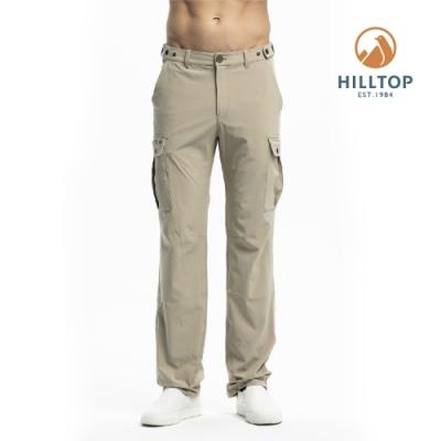 【hilltop山頂鳥】男款超潑水彈性保暖長褲H31ML5卡其