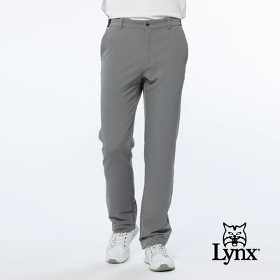 【Lynx Golf】男款潑水功能素面腰間特殊織帶造型設計平口微窄管休閒長褲-灰色