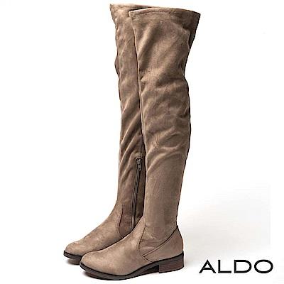 ALDO 原色靚黑內拉鍊式復古木紋粗跟尖頭膝上靴~典雅灰色