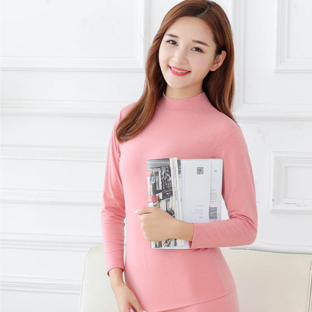 G+居家 女款輕磨毛暖暖發熱衣-立領-粉色