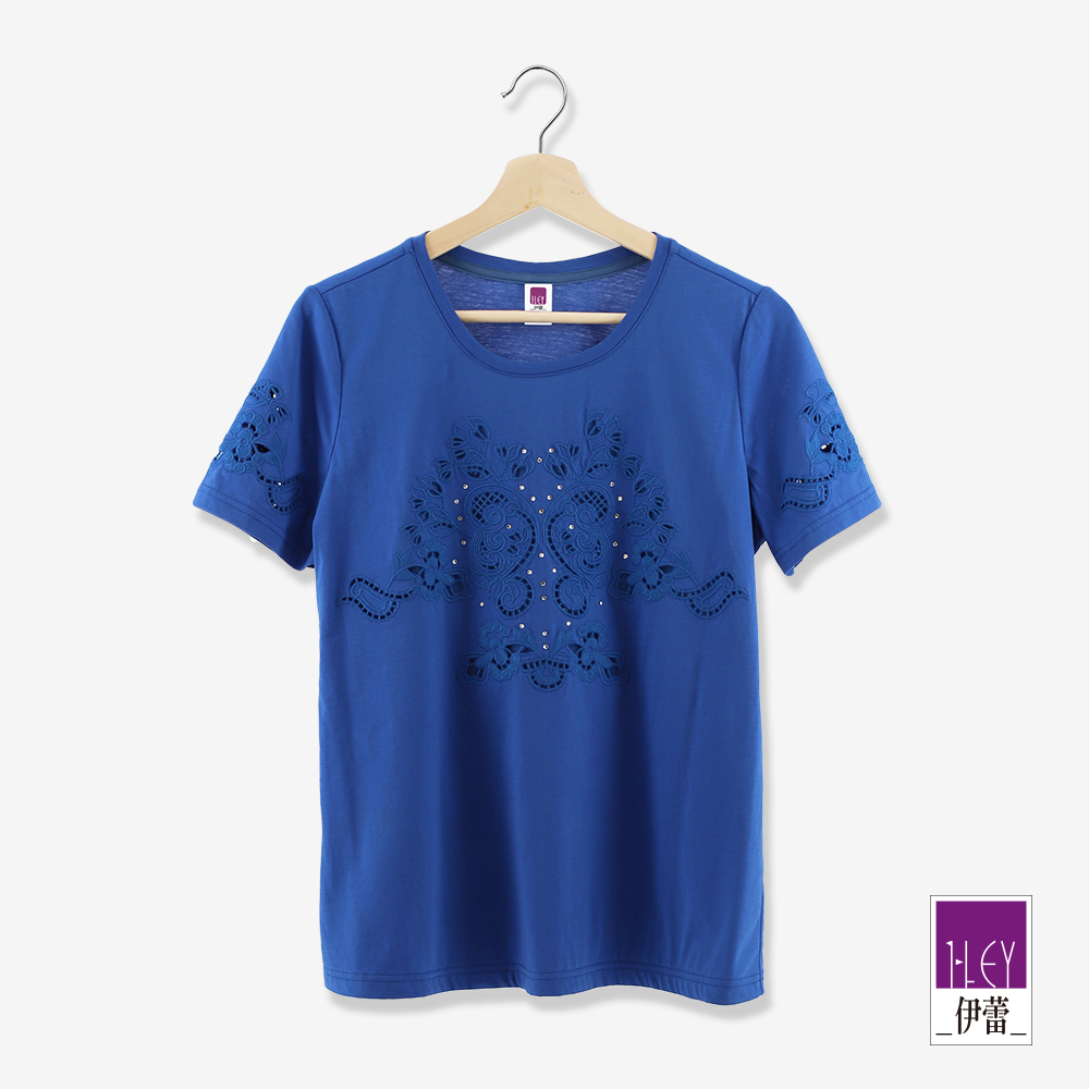 ILEY伊蕾 刺繡圖騰燙鑽棉質上衣(藍/綠)