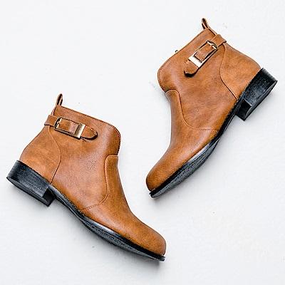 River&Moon短靴-方金扣前V口微尖頭低跟靴 黃棕