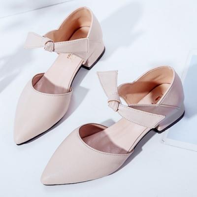 KEITH-WILL時尚鞋館 好評加碼素面綁帶尖頭鞋-米