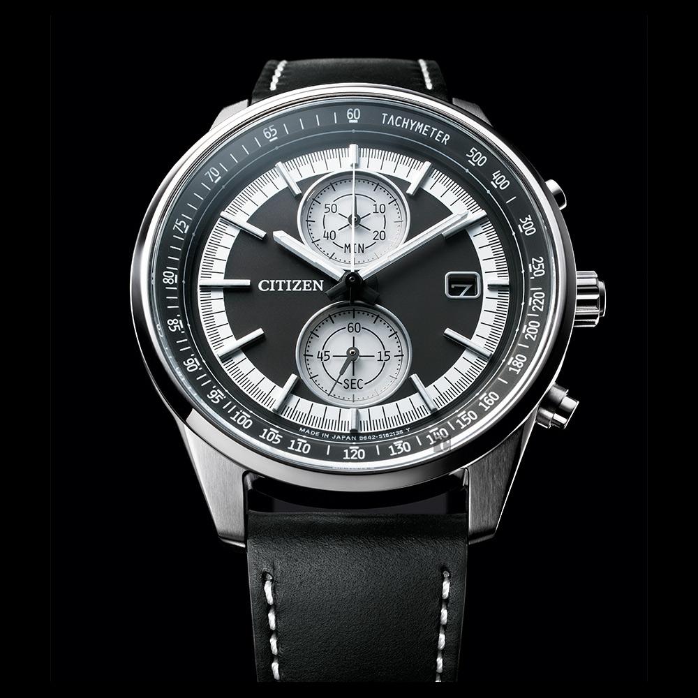 CITIZEN 星辰 光動能紳士計時手錶-黑皮帶/41mm(CA7030-11E)