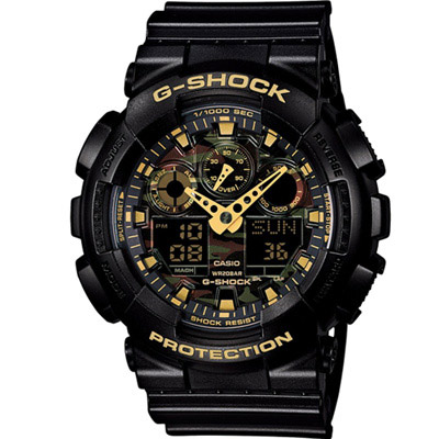 G-SHOCK 超人氣迷彩指針雙顯錶款(GA-100CF-1A9)