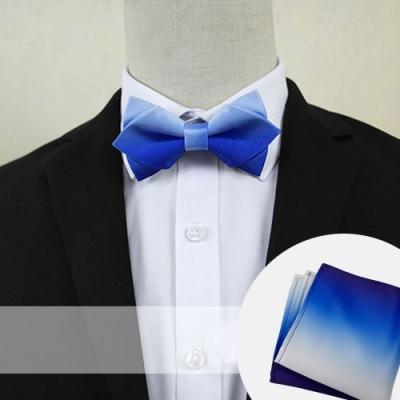 Laifuu拉福,漸變藍新郎結婚領結口袋組(尖角領結+口袋巾)