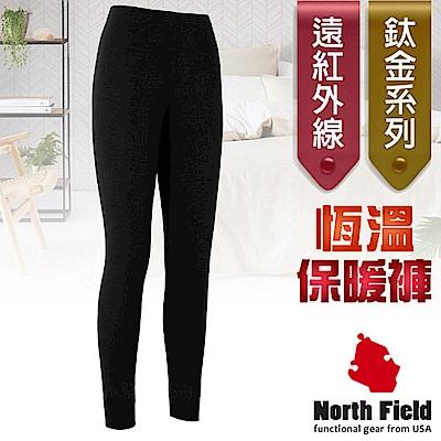 North Field 女  鈦金 遠紅外線+膠原蛋白控溫強刷毛保暖衛生褲_岩黑