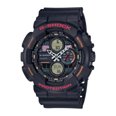 CASIO卡西歐G-SHOCK系列 復古手錶(GA-140-1A4)-黑x紅/48.8mm