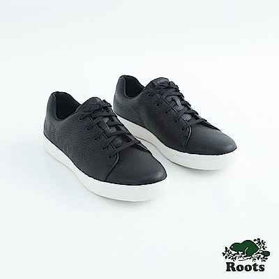 Roots男鞋- 經典皮革綁帶鞋-黑
