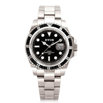 HYUN炫 男士鋯石設計精品錶-白鋼黑底黑鑽