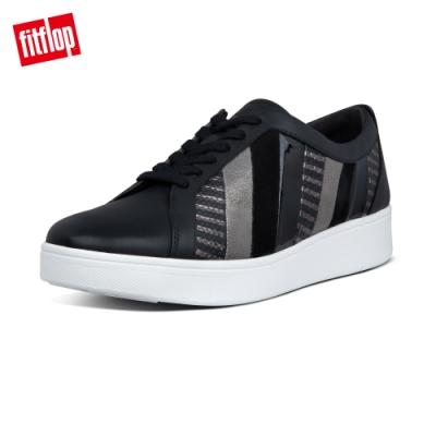 FitFlop RALLY 多彩金屬光拼接繫帶休閒鞋-女(黑色)
