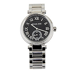 MK MICHAEL KORS 經典黑面銀錶帶羅馬數字腕錶(銀)