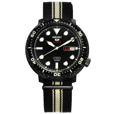 SEIKO 精工 5號盾牌 自動上鍊 防水100米 日本製造 尼龍機械錶-黑色/45mm