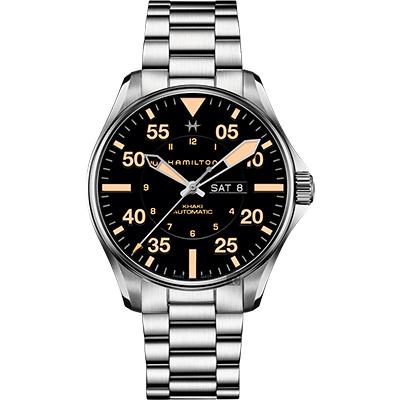 Hamilton 漢米爾頓 KHAKI PILOT 飛行員機械錶-黑x卡其色時標/46mm