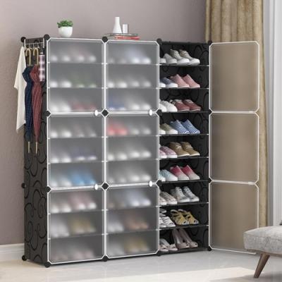 【Mr.Box】27格9門1掛 防塵組合鞋櫃盒 深 32CM(黑+霧款)